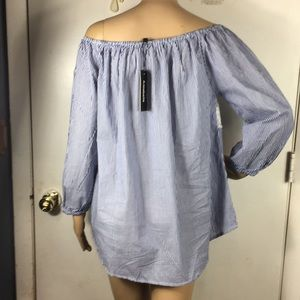 Annabelle Tops - Annabelle blue off the shoulder striped shirt